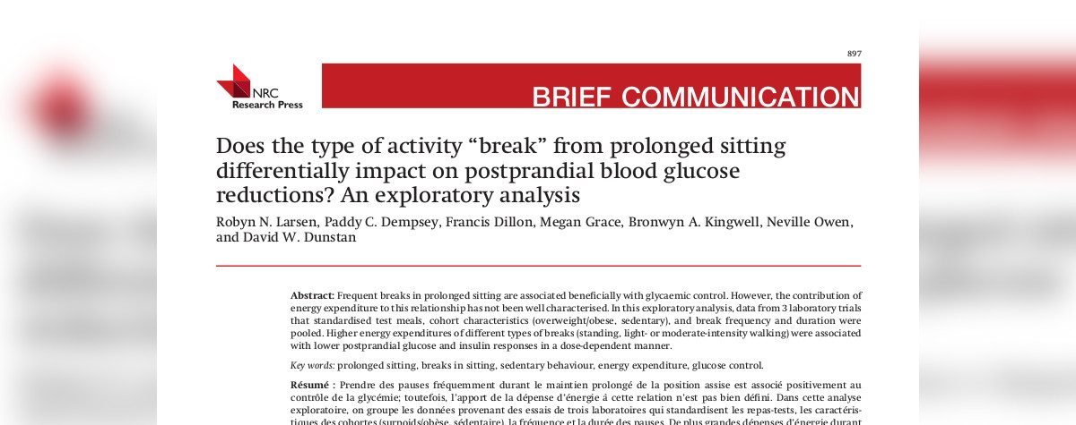 Breaks from sitting can improve post-meal glucose and insulin: is ...