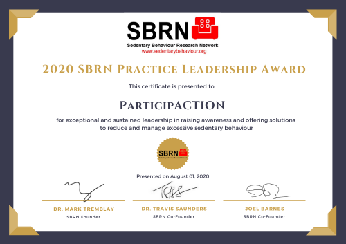 2020 SBRN Practice Award Certificate - ParticipACTION
