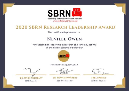 2020 SBRN Research Award Certificate - Neville Owen