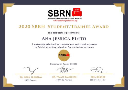 2020 SBRN Student Award Certificate - Ana Jessica Pinto