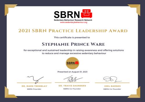 2021 SBRN Practice Award Certificate - Stephanie Prince Ware