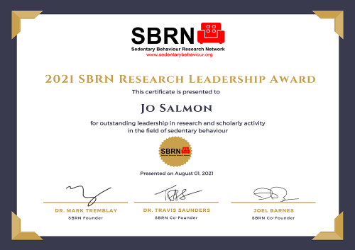 2021 SBRN Research Award Certificate - Jo Salmon