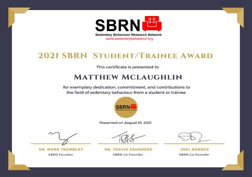 2021 SBRN Student Award Certificate - Matthew Mclaughlin
